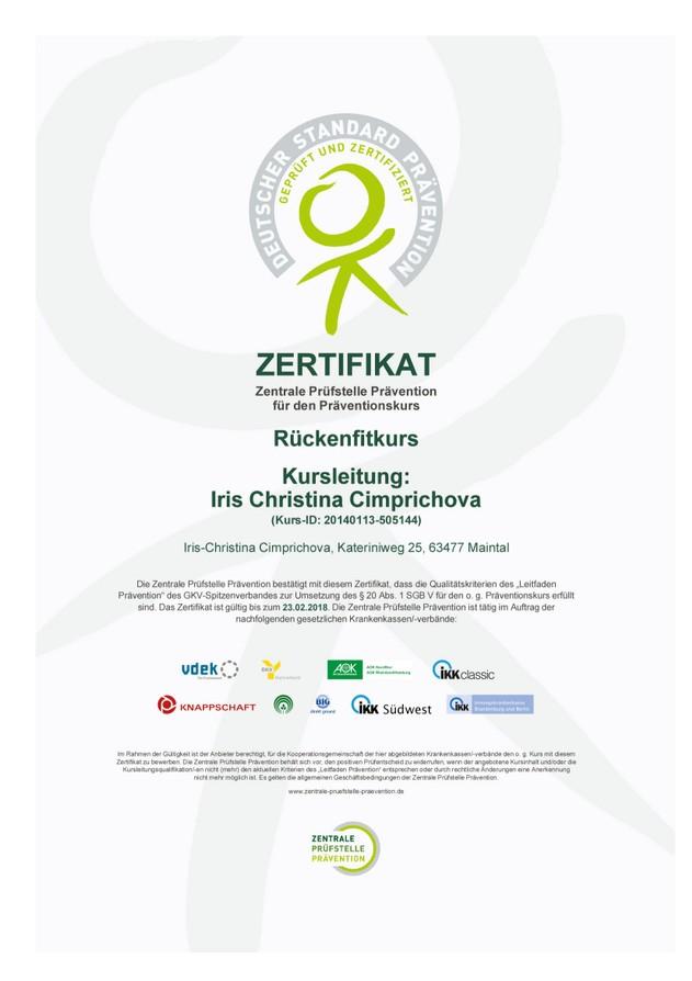 Zertifizierung - Präventionskurse Rückenfitkurs, Autogenes Training ...